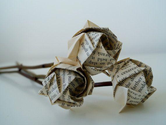 Rose bouquet-vecchio libro origami rose con giorno regalo-10 di ramoscelli-ambiente naturale friendy-madre steli-grazie si mazzo insegnante