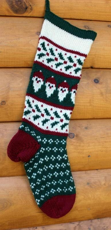 Hand Knit Christmas Santa and Holly Stocking  Handmade & Ready