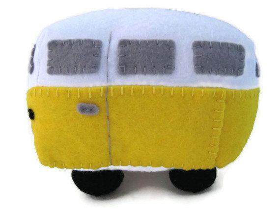 VW Campervan Gift Felt Car Toy VW Campervan Plush by GracesFavours