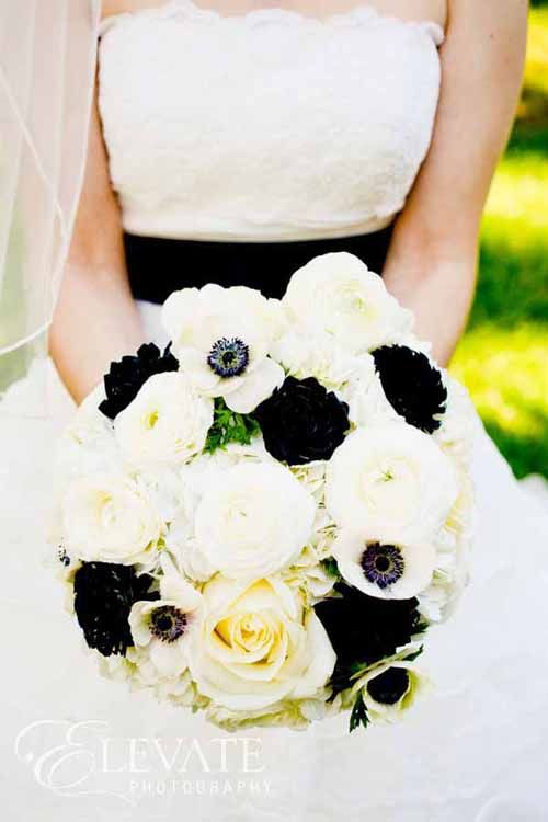Designed by Bare Root Flora. Black and White bridal bouquet