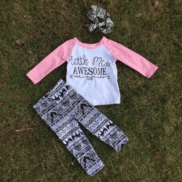 Preorder- Little Miss Awesome Legging Set - headband included