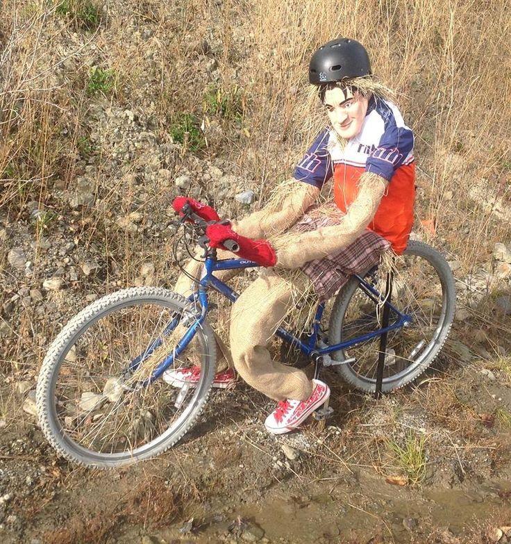 Cycling to Bragg Creek scarecrow - 2013