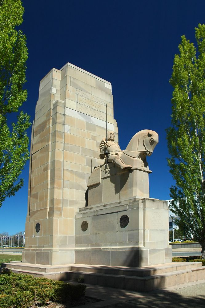 memorial to george sculpture in front of canberra parliament house