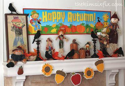 40 delightful diy fall mantel decoration ideas - The Kim Six Fix Fall Scarecrow Mantle Thanksgiving Fall