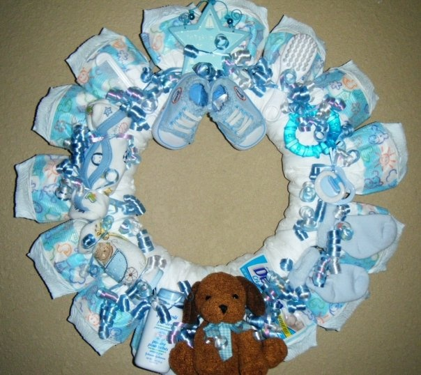 Baby Shower Wreath Instructions: Diaper Wreath For Baby Boy