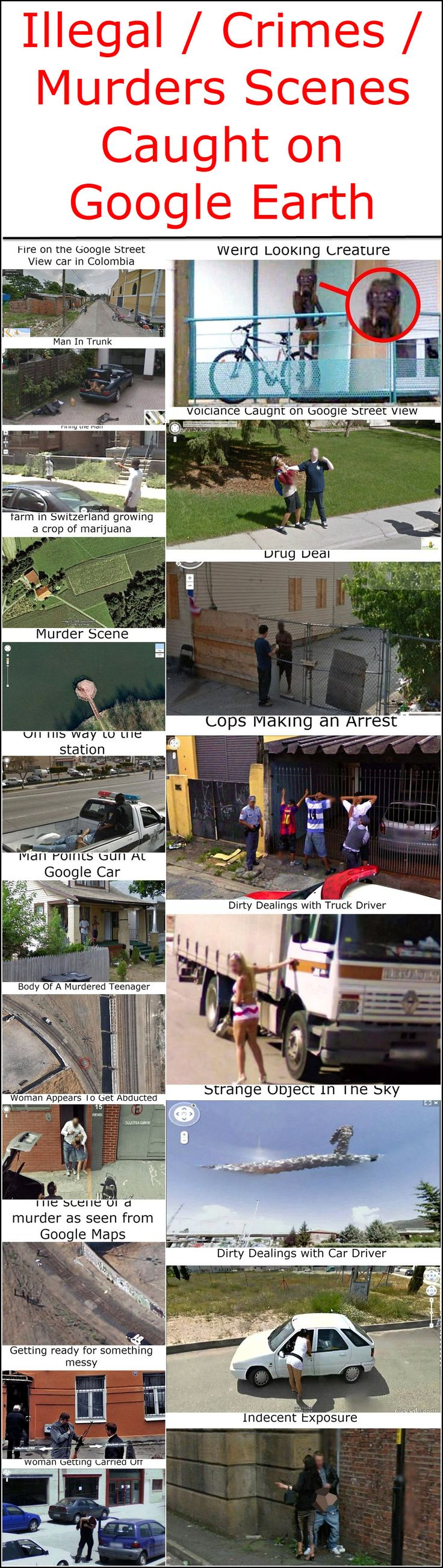 Illegal / Crimes / Murders Scenes Caught on Google Earth