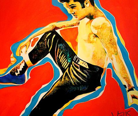 Blue Suede Shoes art by Stacey Wells. Elvis Prestley wearing his Blue Suede shoes. Shown at the Elvis Honeymoon Hideaway in Palm Springs. Original art by Stacey Wells