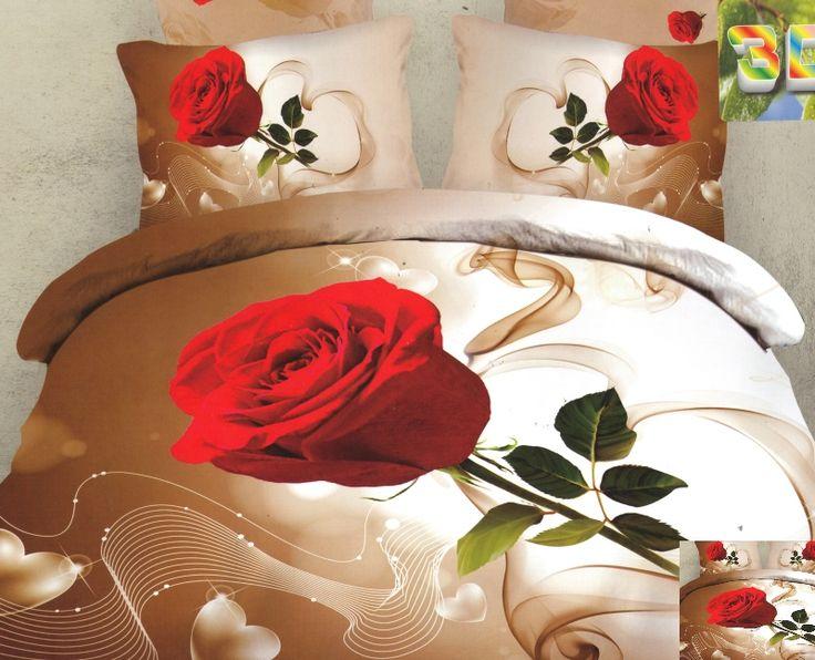 3D pościel kremowa z czerwoną różą