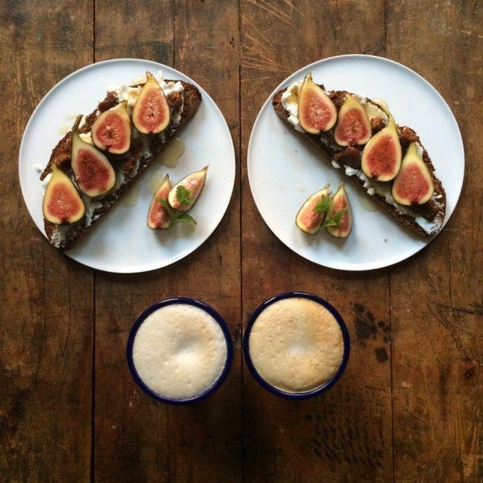 Soda bread, ricotta, fresh and dried figs with honey, caffè latte.