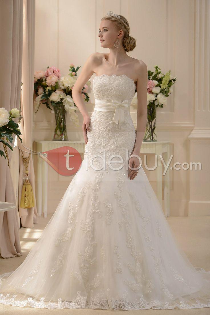 wonderfu! lPretty Slight Trumpet/Mermaid Strapless Floor-length Chapel Wedding Dress : Tidebuy.com