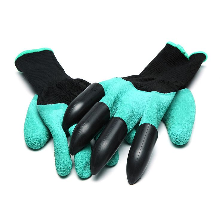 A Pair Gardening Digging Gloves Planting Rubber Polyester Safety Work Gloves
