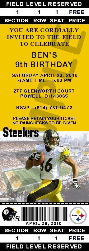 Steelers Party Invitations | INVITATIONS - PRO FOOTBALL - Pittsburgh Steelers Ticket Invitations ...