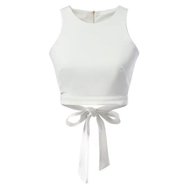Romwe Back Zipper Hollow Bow Tank Top (16 350 LBP) ❤ liked on Polyvore featuring tops, crop tops, t-shirts, white, crop tank, white crop top, bow tank top, crop top and white tops