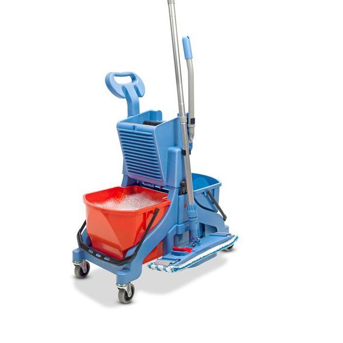 Wózek do sprzątania dwuwiaderkowy MMT 1616 .Profesjonalny i wygodny w użytkowaniu wózek dwuwiaderkowy do sprzątania. Wózek posiada bardzo wygodny dostęp do obu 16-litrowych wiader oraz możliwość doposażenia w akcesoria dodatkowe jak uchwyt na mopa czy rączkę.