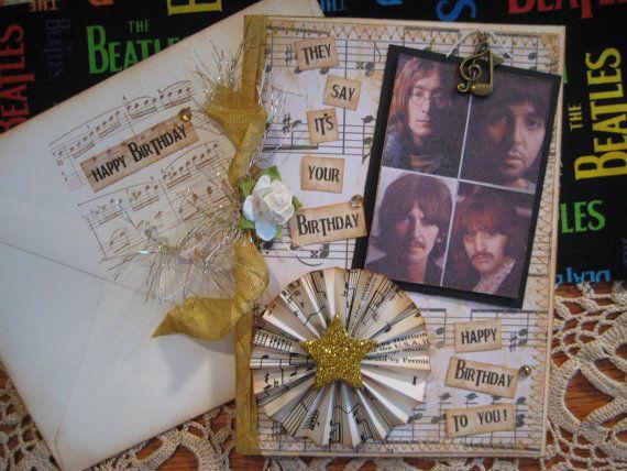 Beatles Birthday Card 'Birthday' Song Lyrics White by FabFourYou