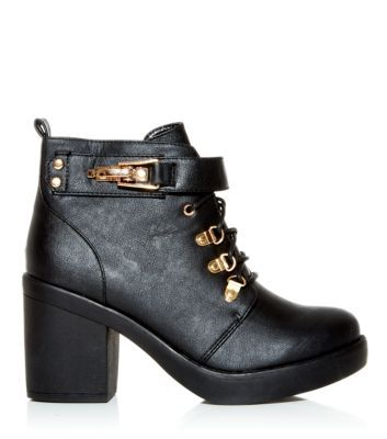 Black Metal Keeper Lace Up Block Heel Ankle Boots