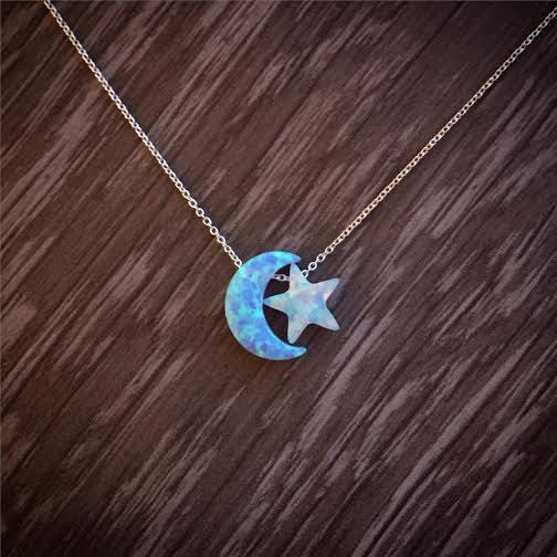 Lab opal Moon & Star necklace Silver Moon by JasmineJewelryShop