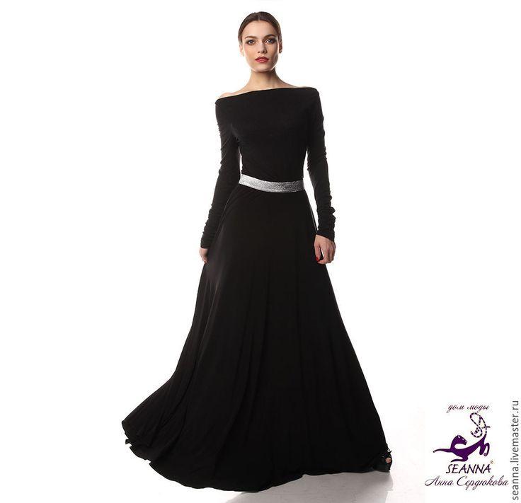 """Купить Роскошная юбка в пол """"Струящийся трикотаж"""" на серебряной резинке - юбка, длинная юбка"""