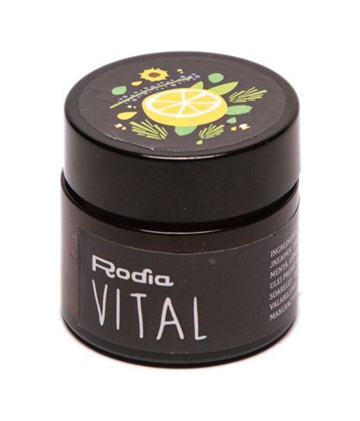Este o crema din jneapan, cu un parfum delicat de munte, cu efect activant, fara sa incinga. Energizeaza subtil, vandecand inflamatiile.  Ca si crema BRAD, si Vital poate fi manufacturat doar o data pe an, atunci cand se pot culege mugurii de jneapan  Ingrediente:  – muguri de jneapan, rasina de jneapan, uleiuri volatile de menta, lamaie, salvie si melisa, ulei presat la rece de floarea soarelui, ceara curata de albine