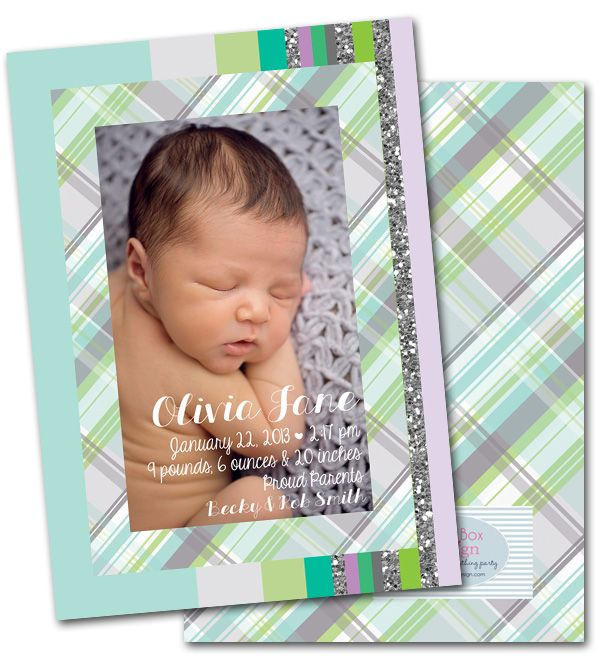 baby announcements, glitter, plaid, modern baby announcements, birth announcements via Party Box Design