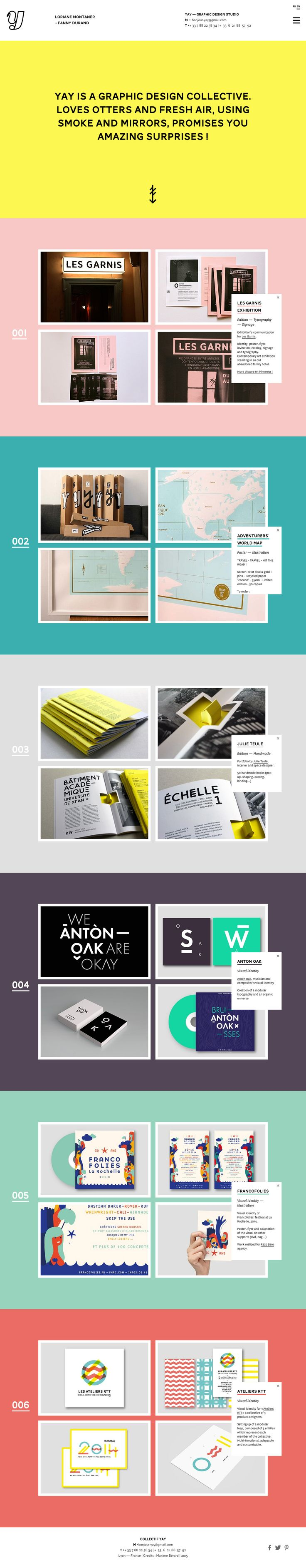 Colorful parallax scrolling One Page portfolio for @bonjouryay - a French graphic design studio. I pretty much love everything about this One Pager. The color, the subtle parallax, the hover effects, the minimal amount of project detail (copy + images) and just love how the logo changes as you scroll (consistent with the preloader).