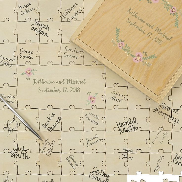 Personalized wood wedding puzzle guest book with guest signatures