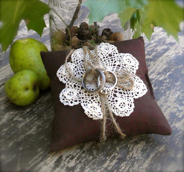 Wedding crochet ring pillow