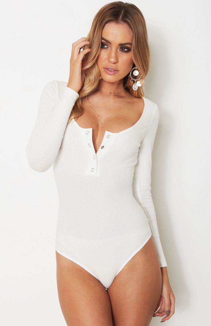 Lydia Long Sleeve Bodysuit White