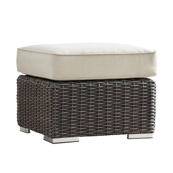 HomeSullivan Camari Charcoal Wicker Outdoor Ottoman with Beige Cushion