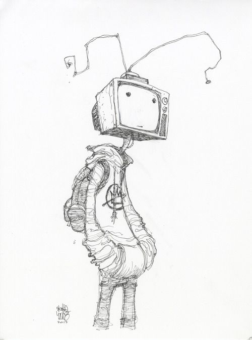 Skottie Young • #DailySketch TV Head. Original art...
