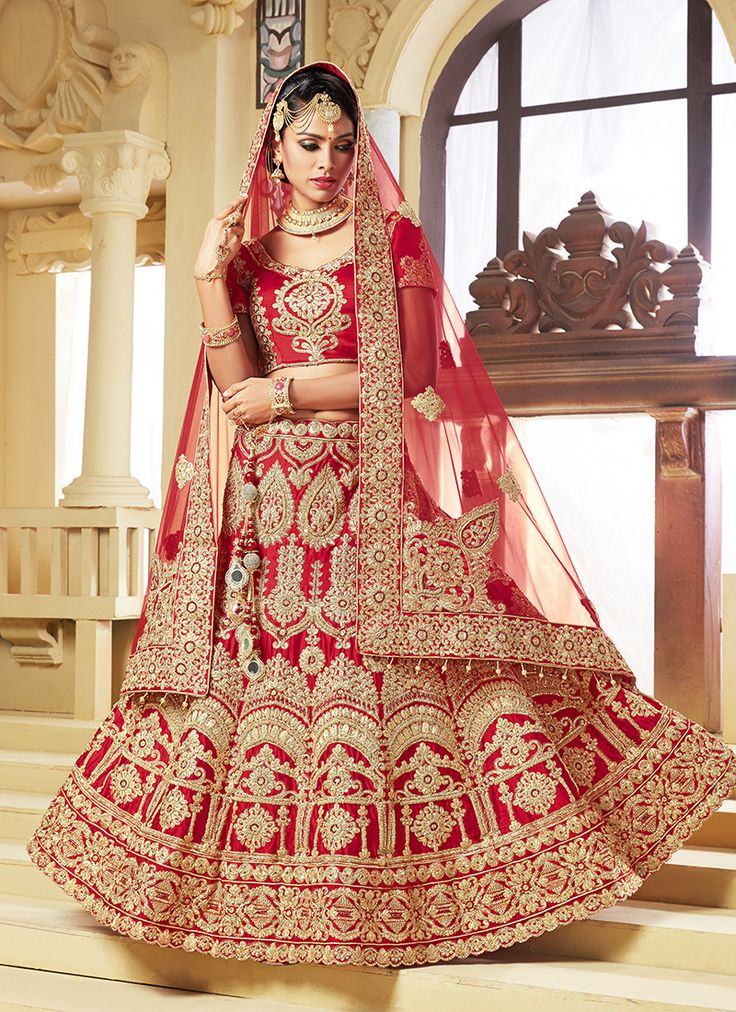 Bridal Wear Red Satin Embroidery Work Lehenga Choli
