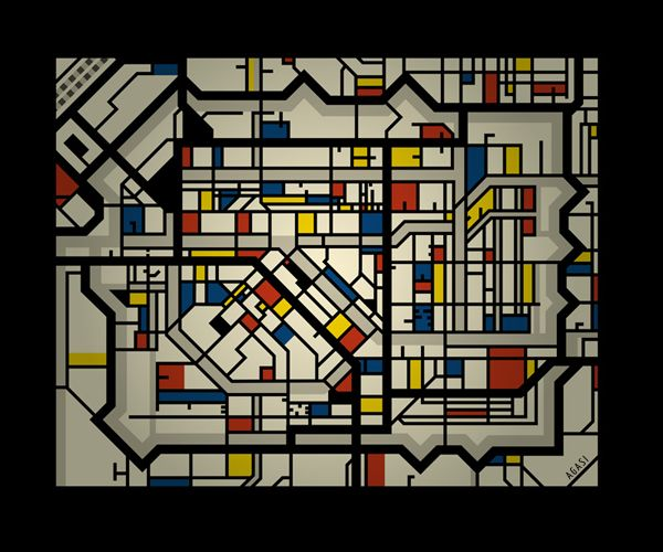 """Map of Leyden, """"Design for a stained glass window in Leyden city hall"""", in the style of De Stijl, by Jos Agas - Unfortunately not (yet) to see in reality"""