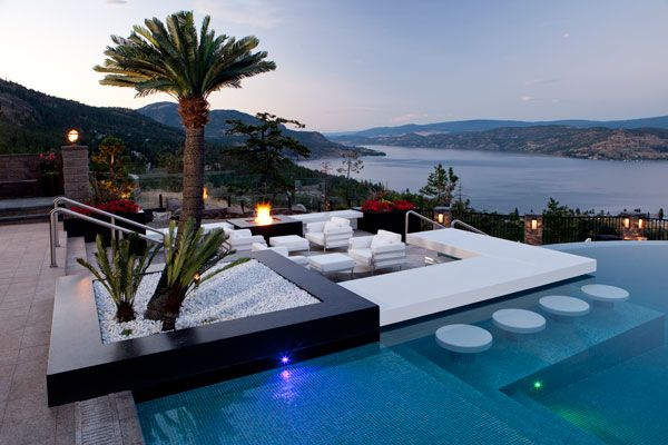 Multi-Level pool in Kelowna, BC, Canada designed by Skip Philips of Questar Polls & Spas | Photo by Shawn Talbot