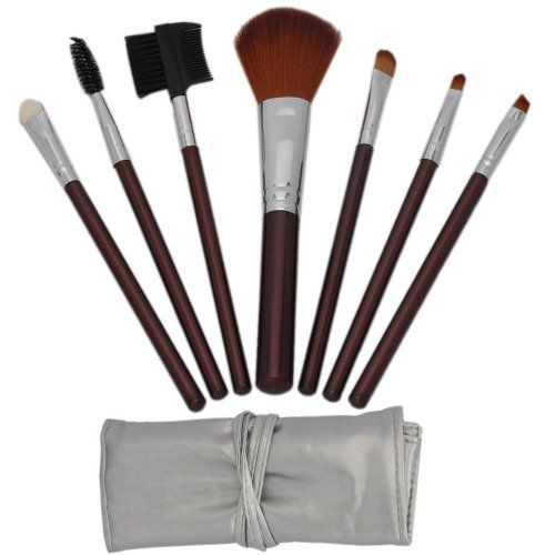 7pcs Brown Professional Cosmetic Makeup Make up Brush Brushes Set Kit with Silver Bag Case $1.39