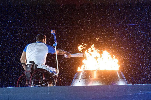 Paralympic torches lights the cauldron