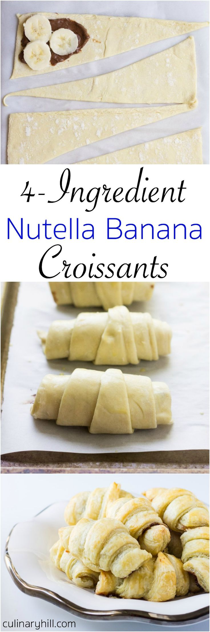 4-ingredient Banana Nutella Croissants are a simple yet luscious treat for breakfast, dessert, or any time you need a treat.
