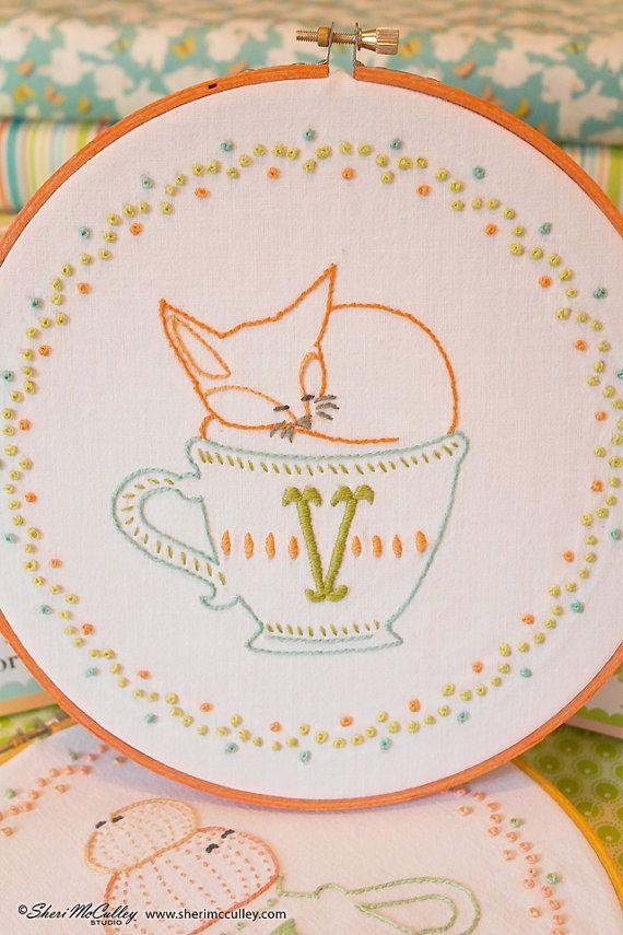 Vixen fox v hand embroidery letter