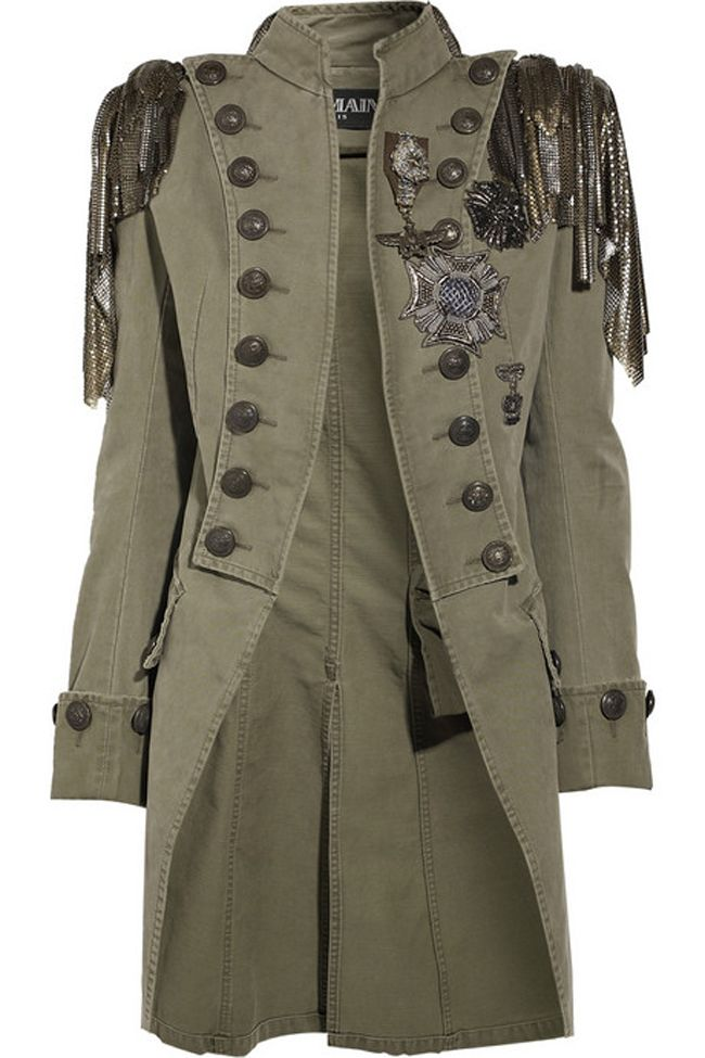 ALMAIN Embellished cotton-canvas Napoleon coat Wear Balmain's military-style masterpiece with a love-torn tee and leather pants for a cocktail look: