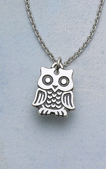 Hooty Owl Charm, shown on a sterling silver chain #jamesavery #jewelry