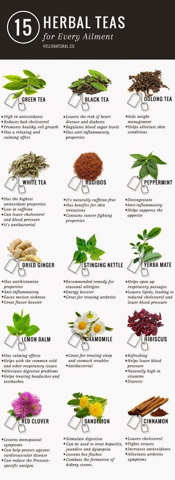 """Green tea is not the only tea with promising (and according to many sources, PROVEN) health benefits. This infographic illustrates and describes 14 other healing herbal teas. <a href=""""http://www.detoxmetea.com"""" rel=""""nofollow"""" target=""""_blank"""">www.detoxmete"""