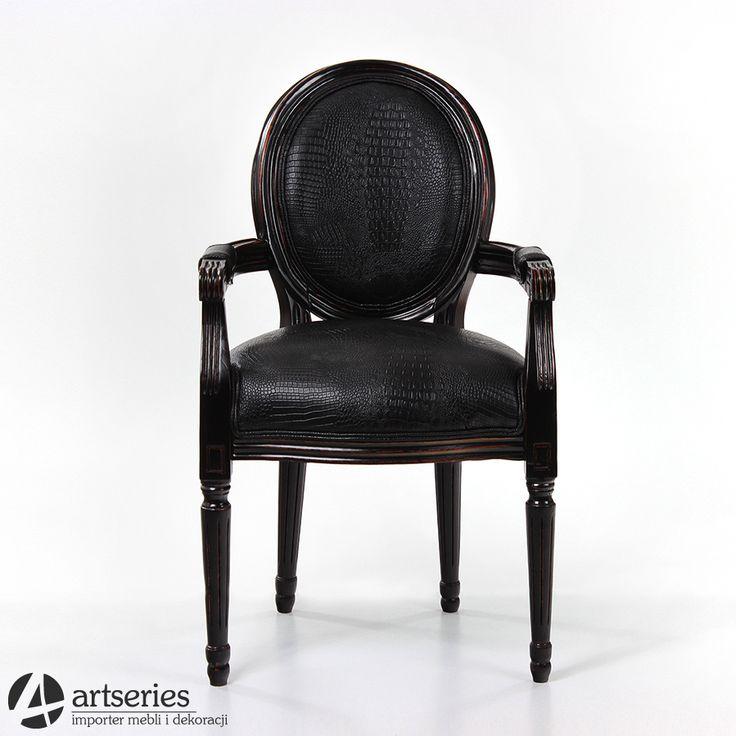 Stylowe, czarne krzesło skórzane 66600 fotel czarny - Artseries