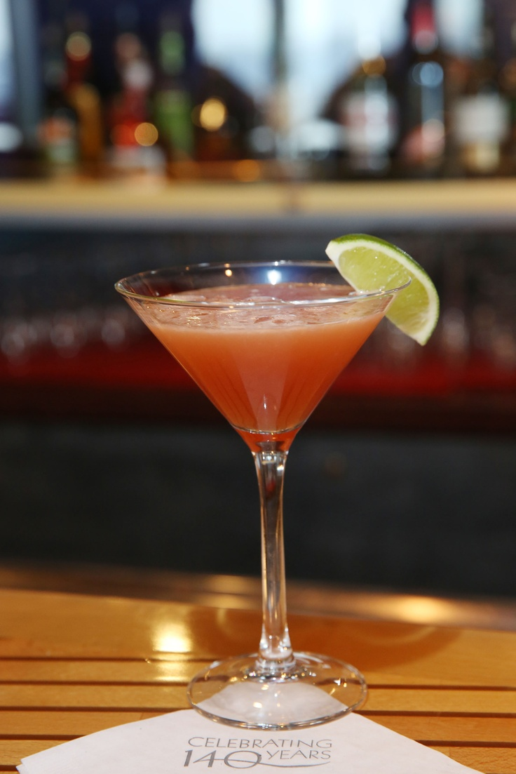 #Celebrate cocktails through the ages with a #Hemingway Daiquiri. Ingredients: 1 oz Bacardi white rum, 0.5 oz Cherry Heering, 1 oz Sour Mix, 1 Fresh Grapefruit wedge and 1 Lime wedge. Directions: Muddle fresh lime and grapefruit in a Cocktail shaker. Add other ingredients. Shake & strain into a martini glass. Garnish with a lime wedge. #HALCelebrations #HALannivHemingway Daiquiri, Bacardi White, Limes Wedges, Sour, Fresh Grapefruit, Fresh Limes, Cherries Heer, Grapefruit Wedges, Cocktails Shakers