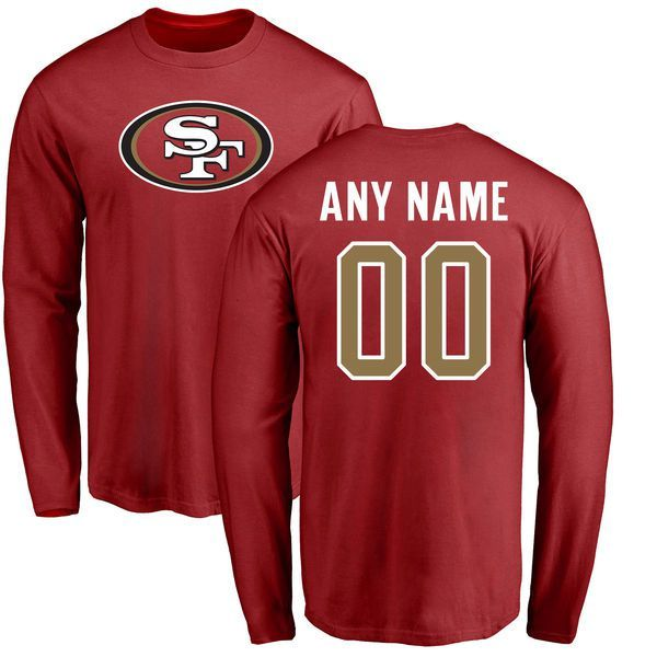 Men San Francisco 49ers NFL Pro Line Red Any Name and Number Logo Custom  Long Sleeve 5ff7712e2