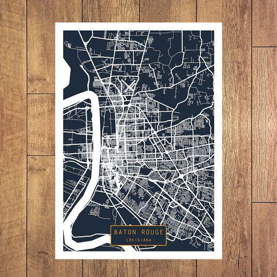 BATON ROUGE Louisiana City Map Baton Rouge by JackTravelMap