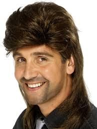 The mullet is a fashionable male hairstyle during this decade. It is short in the front and sides but long in the back.