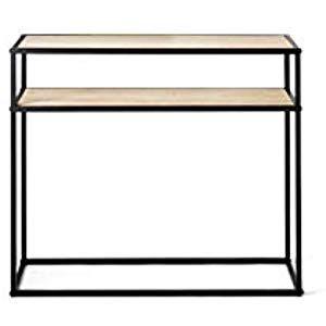 LIFA LIVING Konsolentisch mit 2 Böden | Stabiler Beistelltisch aus Holz Metall …