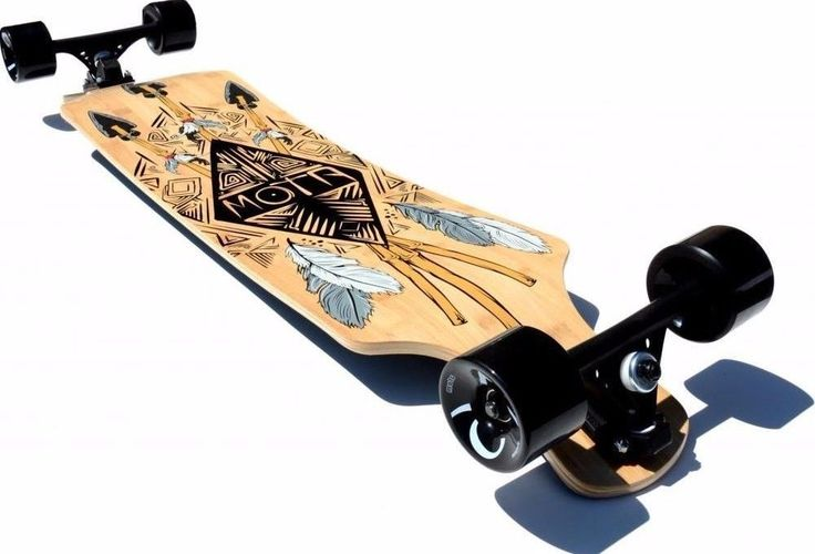 '39 Drop Deck Longboard Cruiser Skateboard WoodGrain Tribal Feathers and arrows  #TribalBoard #LongBoard #Cruiser #Longboarding #skate #SkateBoard #SkateBoarding #Cruiser #Cruising #HillBomber