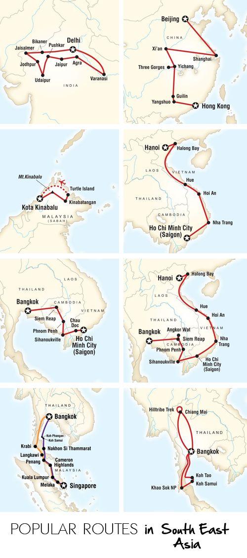 Deze routes zijn de meeste gekozen routes in Azie