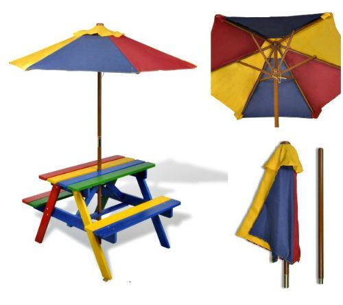 Kids Picnic Table Bench & Parasol Rainbow Wooden Patio Furniture Outdoor Play  #Vivo