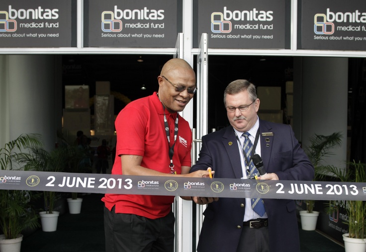 Dr Bobby Ramasia, together with Mr Dave Dixton, the Comrades Marathon Association Chairman, on Thursday, May 30, cut a ribbon to mark the opening of the Bonitas Expo for the Comrades Marathon 2013.